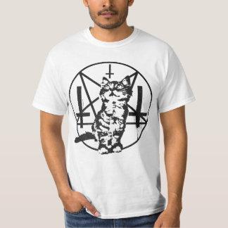 Gatito invertido de la cruz y del pentáculo playera