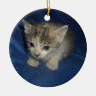 Gatito irresistible adorno navideño redondo de cerámica