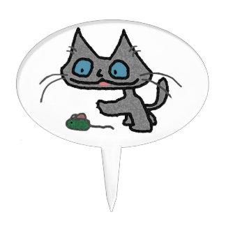 Gatito juguetón y su juguete del ratón decoración de tarta