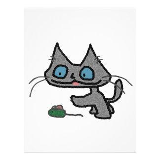 Gatito juguetón y su juguete del ratón membrete a diseño