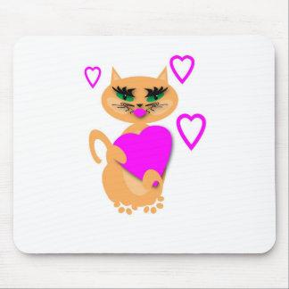 Gatito Kat con los productos del corazón Alfombrillas De Ratones