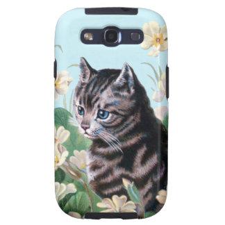 Gatito lindo - arte del gato del vintage galaxy SIII carcasa