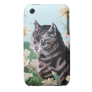 Gatito lindo - arte del gato del vintage iPhone 3 Case-Mate protector
