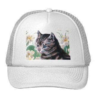 Gatito lindo - arte del gato del vintage gorros