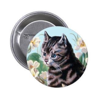 Gatito lindo - arte del gato del vintage pin redondo de 2 pulgadas
