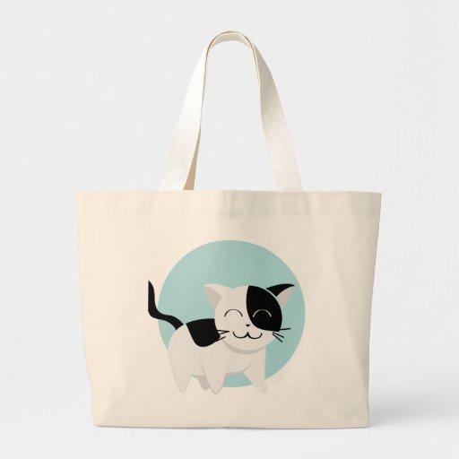 Gatito lindo bolsa tela grande