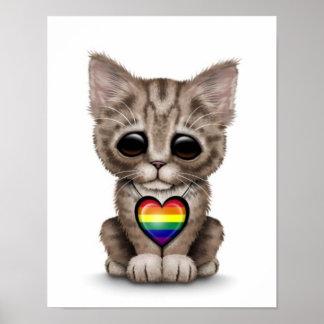 Gatito lindo con el corazón del orgullo gay del ar impresiones