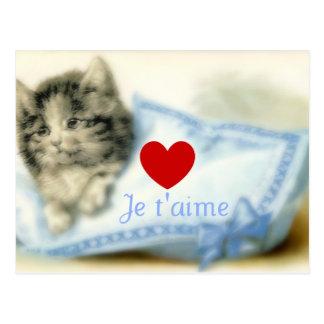 Gatito lindo con la almohada y el amor postales