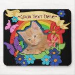 Gatito lindo con la voluta Mousepad Tapete De Ratón