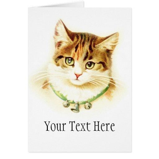 Gatito lindo con las campanas en el collar - para  tarjeta de felicitación