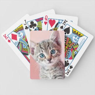 Gatito lindo con los ojos azules baraja cartas de poker