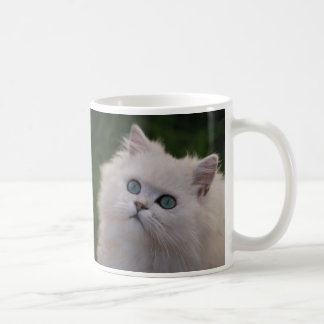 Gatito lindo curioso taza de café