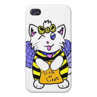 gatito lindo de Halloween iPhone 4 Protectores