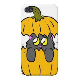 gatito lindo de la calabaza de Halloween iPhone 4 Coberturas