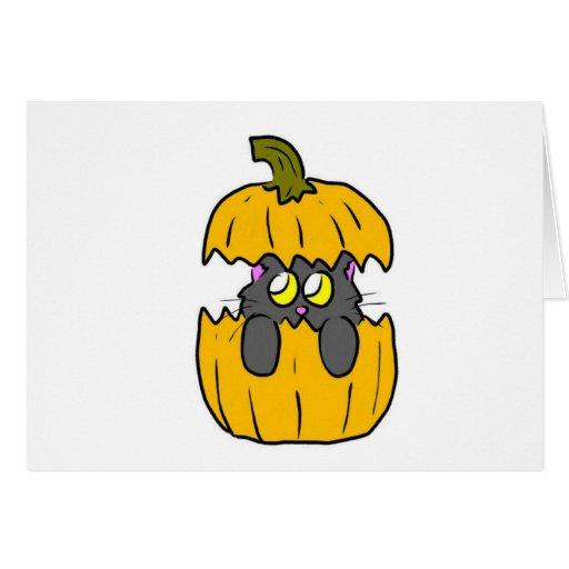 gatito lindo de la calabaza de Halloween Tarjeta De Felicitación