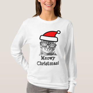 Gatito lindo de la camiseta el | Santa del gato