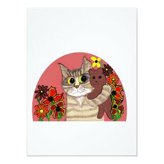 """gatito lindo de las invitaciones del cumpleaños invitación 6.5"""" x 8.75"""""""