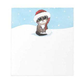 Gatito lindo de Santa en la nieve Libreta Para Notas