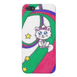 Gatito lindo del arco iris iPhone 5 protector