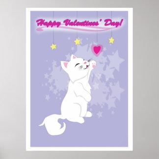 Gatito lindo del día de San Valentín Impresiones