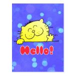 Gatito lindo del dibujo animado hola postal
