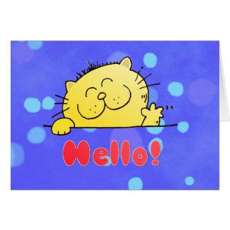 Gatito lindo del dibujo animado hola tarjeta de felicitación