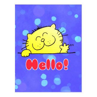 Gatito lindo del dibujo animado hola tarjetas postales