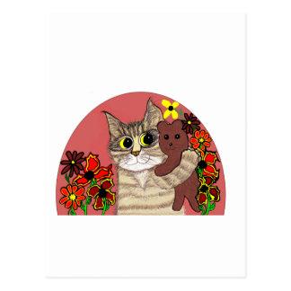 gatito lindo del dibujo animado que sostiene teddy tarjetas postales