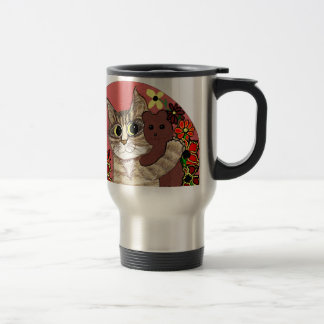 gatito lindo del dibujo animado que sostiene teddy taza de café