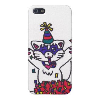 gatito lindo del fiesta/Feliz Año Nuevo iPhone 5 Funda