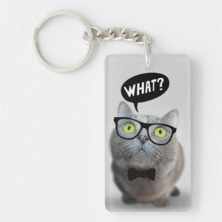 Gatito lindo del gato con los vidrios qué cita llavero rectangular acrílico a una cara
