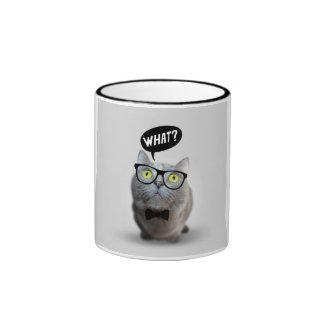 Gatito lindo del gato con los vidrios qué impresió taza de café
