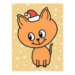 Gatito lindo del jengibre que lleva un sombrero de postales