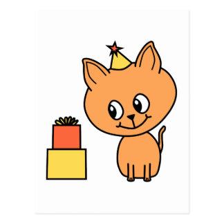 Gatito lindo del jengibre que lleva un sombrero tarjeta postal