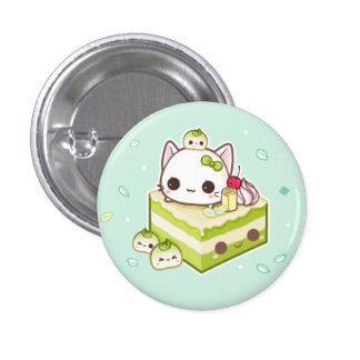 Gatito lindo del mochi con la torta del té verde pin redondo de 1 pulgada