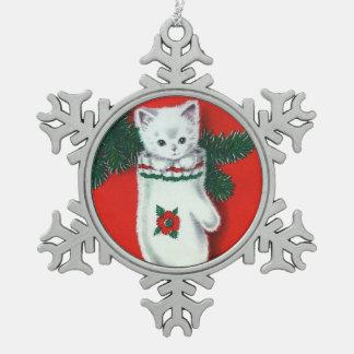 Gatito lindo del navidad adorno de peltre en forma de copo de nieve