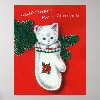 Gatito lindo del navidad póster