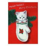 Gatito lindo del navidad tarjetas