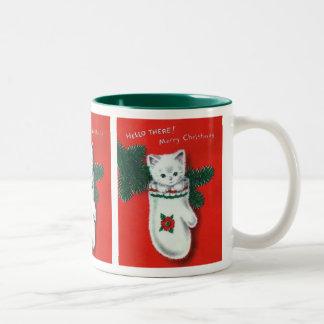 Gatito lindo del navidad taza dos tonos