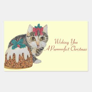 gatito lindo del tabby y saludo y pudín del pegatina rectangular