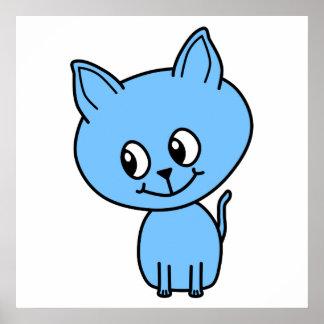 Gatito lindo en azul posters