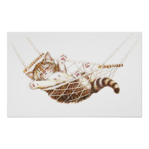 Gatito lindo en hamaca poster
