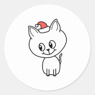 Gatito lindo en la Navidad Etiquetas Redondas