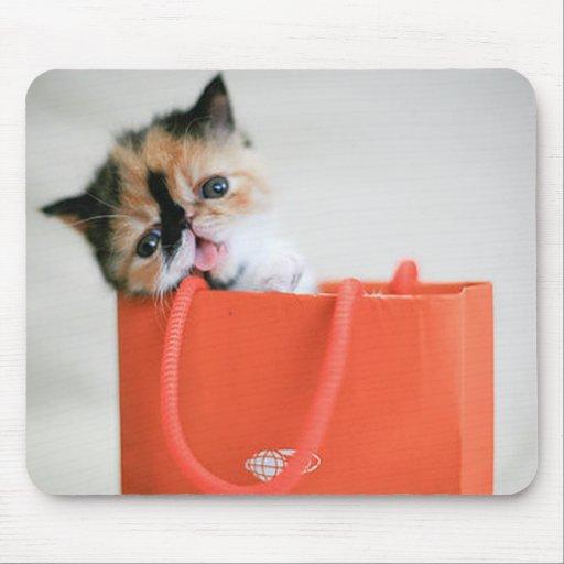 Gatito lindo en un bolso Mousepad Tapete De Ratones