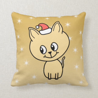 Gatito lindo en un sombrero del navidad cojines