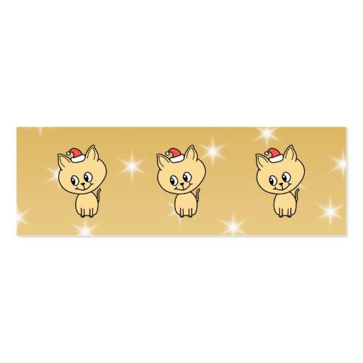 Gatito lindo en un sombrero del navidad tarjetas de visita mini