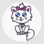 Gatito lindo etiqueta redonda