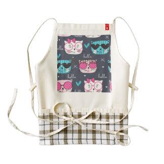 gatito lindo, gato, cabezas, de moda, delantal zazzle HEART
