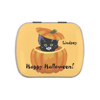 Gatito lindo Halloween personalizado Frascos De Caramelos