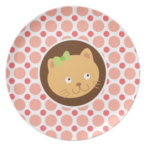Gatito lindo; Lunares rosados y coralinos Plato Para Fiesta